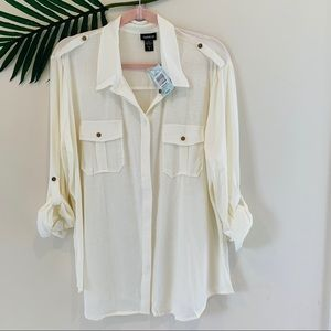Torrid Ivory utility shirt in 2x